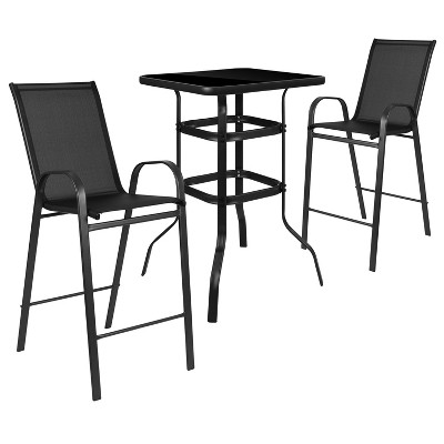 flash furniture 3 piece outdoor glass bar patio table set with 2 barstools
