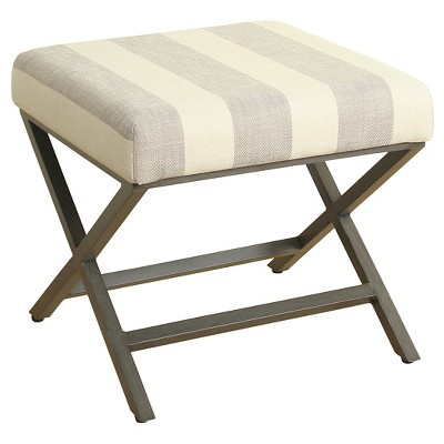 gray cream striped fabric ottoman with gray metal base homepop