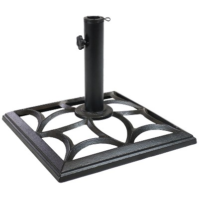 sunnydaze outdoor heavy duty cast iron decorative geometric design square patio umbrella base stand 16 black