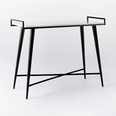 pleasant grove marble top console with metal base white threshold designed with studio mcgee