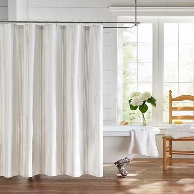 farmhouse living homestead stripe fabric bathroom shower curtain 72 x 72 tan white elrene home fashions