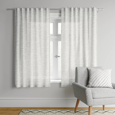 95 x54 striation herringbone light filtering window curtain panel white gray project 62