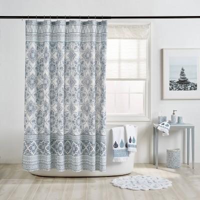 72 x72 capri medallion shower curtain blue destinations