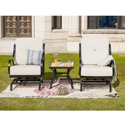 3pc steel patio seating sets cream lokatse