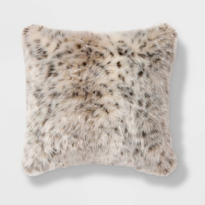 square faux fur decorative throw pillow animal print threshold