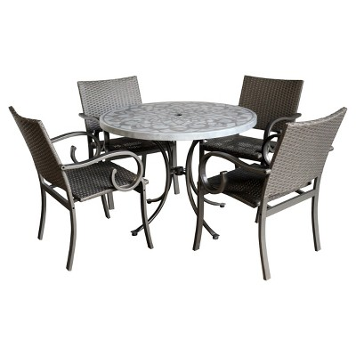 capri 5pc round all weather wicker and concrete stenciled patio dining table set gray home styles