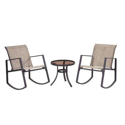 liberty garden aurora 3 piece rocking chair bistro set with polyester sling tan