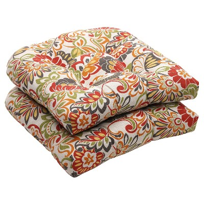 outdoor 2 piece wicker chair cushion set green off white red floral