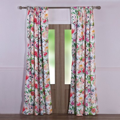 barefoot bungalow blossom 2 piece window curtain panel 42 x 84 multicolored