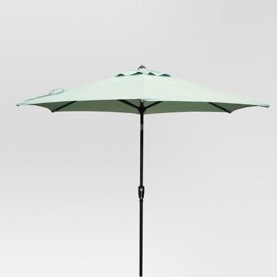 9 round patio umbrella duraseason fabric aqua black pole threshold