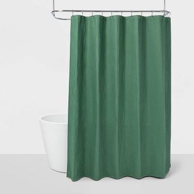 waffle shower curtain green threshold