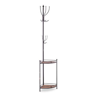 corner metal and wood coat rack brown linon