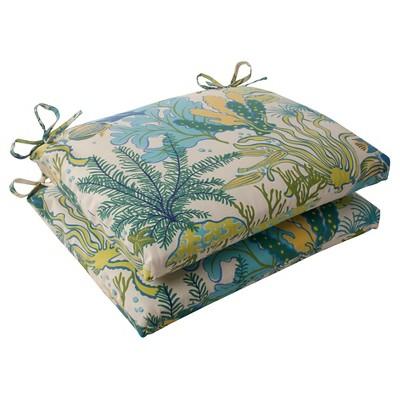 outdoor 2 piece square seat cushion set green blue ocean scene