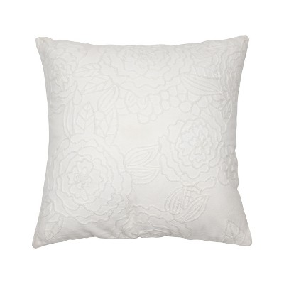 white 18 x 18 inch decorative cotton throw pillow cover with insert and hand embroidered floral pattern foreside home garden
