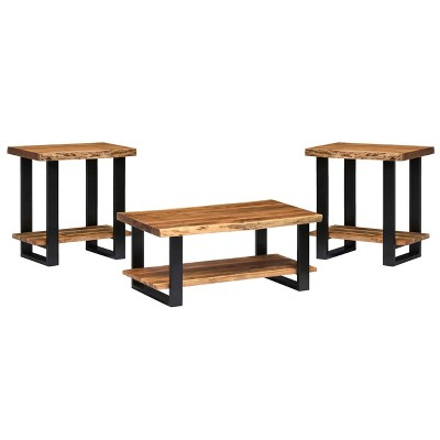 set of 2 42 alpine natural live edge coffee table and end tables brown alaterre furniture