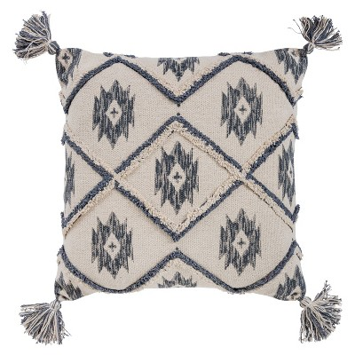 20 x20 oversize ikat square throw pillow cover blue rizzy home