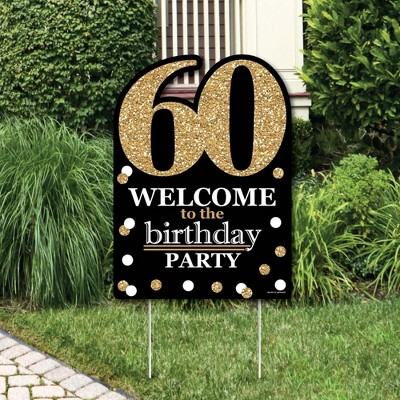 Big Dot Of Happiness Adult 60th Birthday Gold Party Decorations Birthday Party Welcome Yard Sign Target