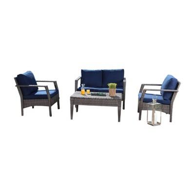 arcadia outdoor wicker 4pc patio seating set gray navy abbyson living
