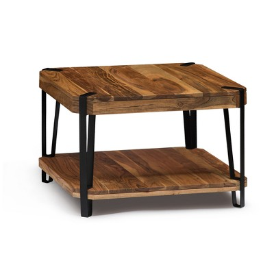 alaterre furniture 28 ryegate natural brown live edge solid wood cube coffee table metal and wood