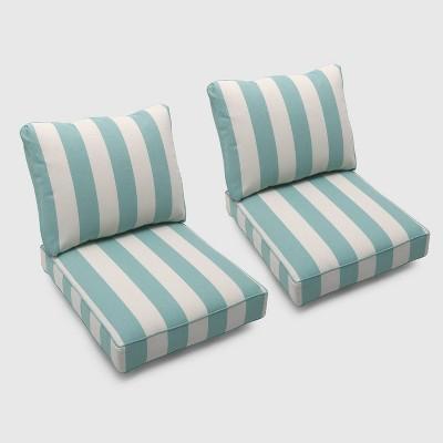 bar harbor 2pk cabana stripe club chair cushions turquoise threshold