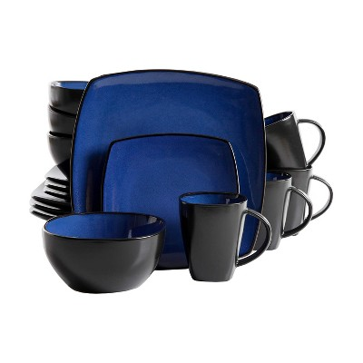 gibson elite soho lounge 16 piece reactive glaze durable microwave and dishwasher safe plates bowls and mugs dinnerware set blue