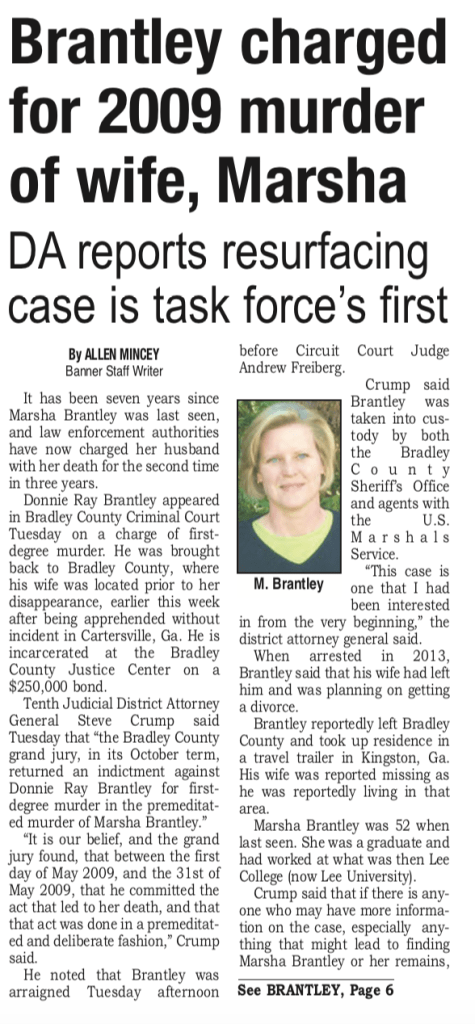 One source used is this article on Marsha Brantley's disappearance written by Allen Mincey for The Cleveland Daily Banner