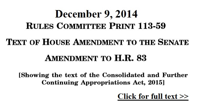 Consolidated and Further Continuing Appropriations Act 2015 HR 83 Click for more info