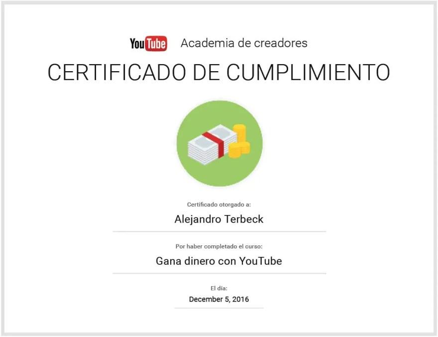 ganar dinero con youtube certificado terbeck