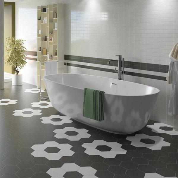 hexagon satin black 175x200 wall floor tile