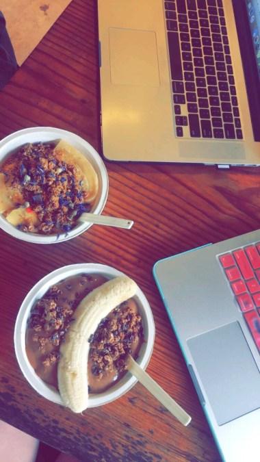 The Bee's Knees (in front): banana, dates, mango, tulsa, chai tea & coconut milk.