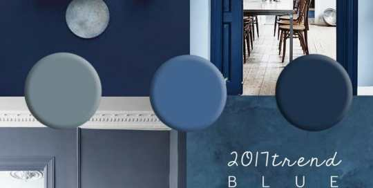 """A collage of blue room interiors. Reads """"2017 Trend Blue Interiors""""."""