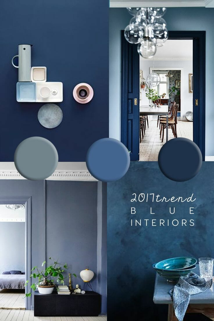"A collage of blue room interiors. Reads ""2017 Trend Blue Interiors""."