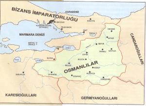 Kuruluş döneminde Osmanlı Beyliği sınırları.