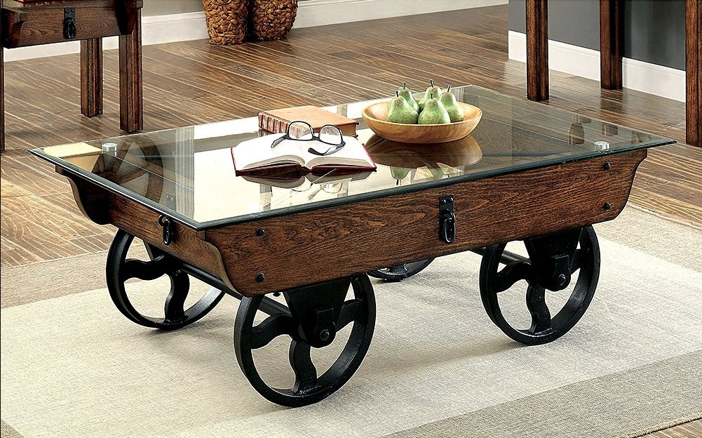 wrought iron rustic glass top coffee table