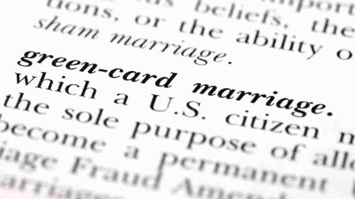 """definition listing for """"green card marriage"""", otherwise known as marriage fraud"""