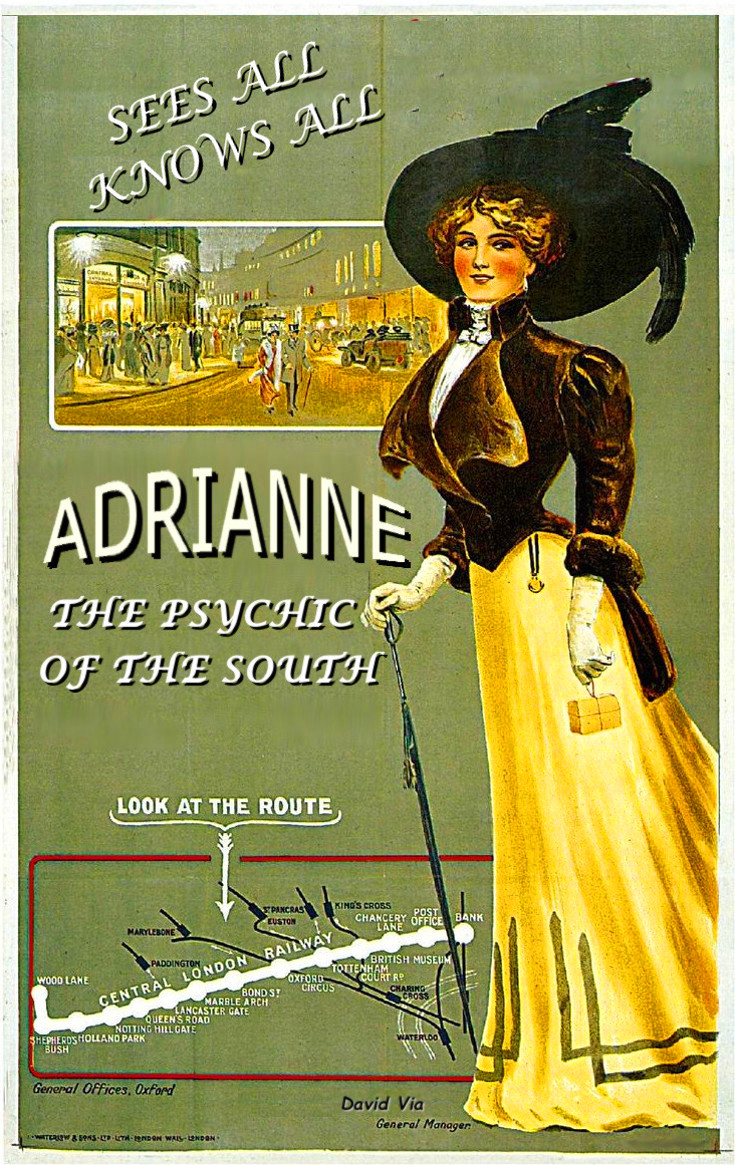 old poster of a woman in a black hat and yellow dress the poster reads