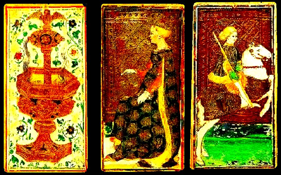 3 very old and colorful tarot cards in a row one is a seated queen, one is a man on a horse and the 3rd looks like a fountian