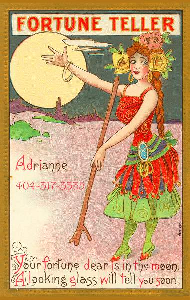 old poster of a psychic in a red and green dress holding her hand up presenting the moon