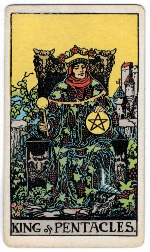 King of Pentacles > Seven of Swords > Three of Pentacles
