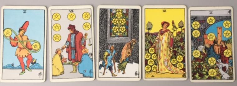 2, 5, 6, 9, 10 van munten uit het Waite Smith Tarot deck