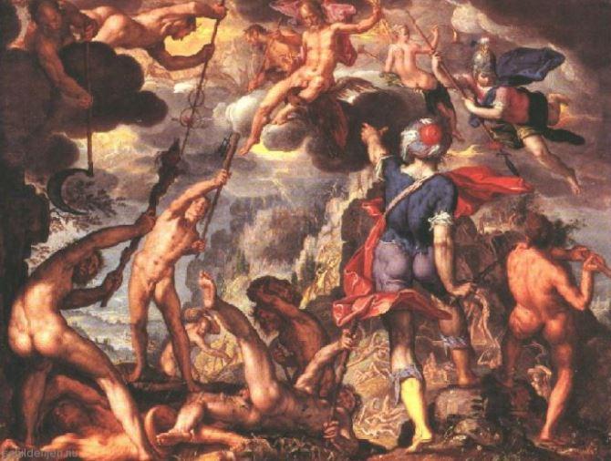 De Strijd der Titanen van Joachim Wtewael