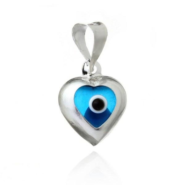 Colgante corazón de plata ojo turco