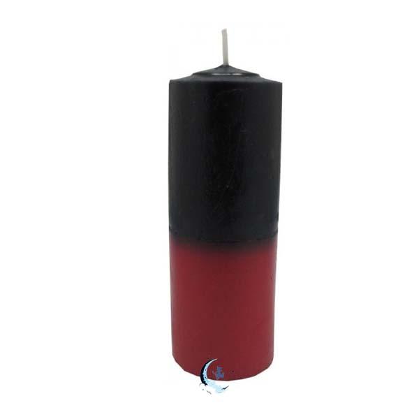 Velón bicolor negro rojo