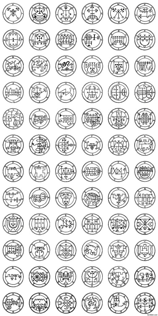 The seals of the 72 Spirits of the lesser Key of Solomon