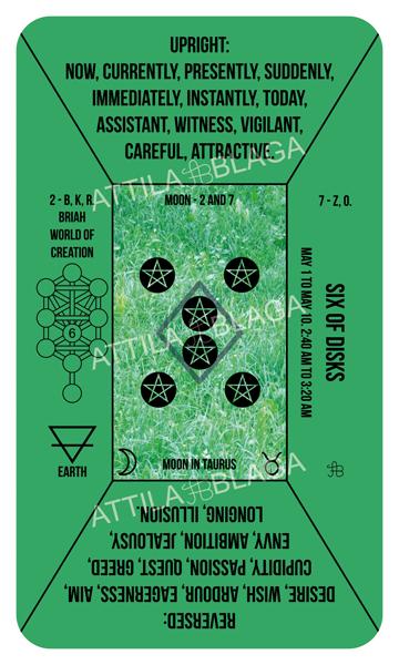 Traditional Divinatory Tarot, Six of Disks