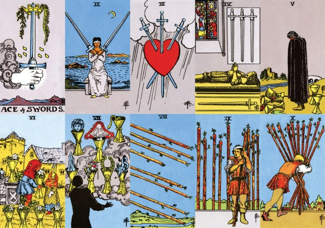 The numbering of the small cards and their associations