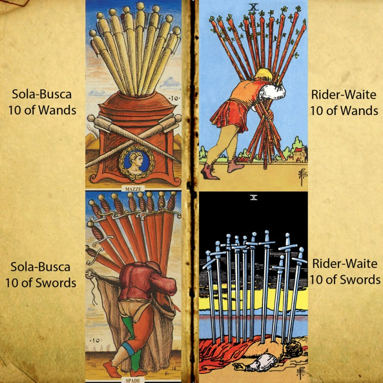The 10s of Sola-Busca and Rider-Waite Tarot