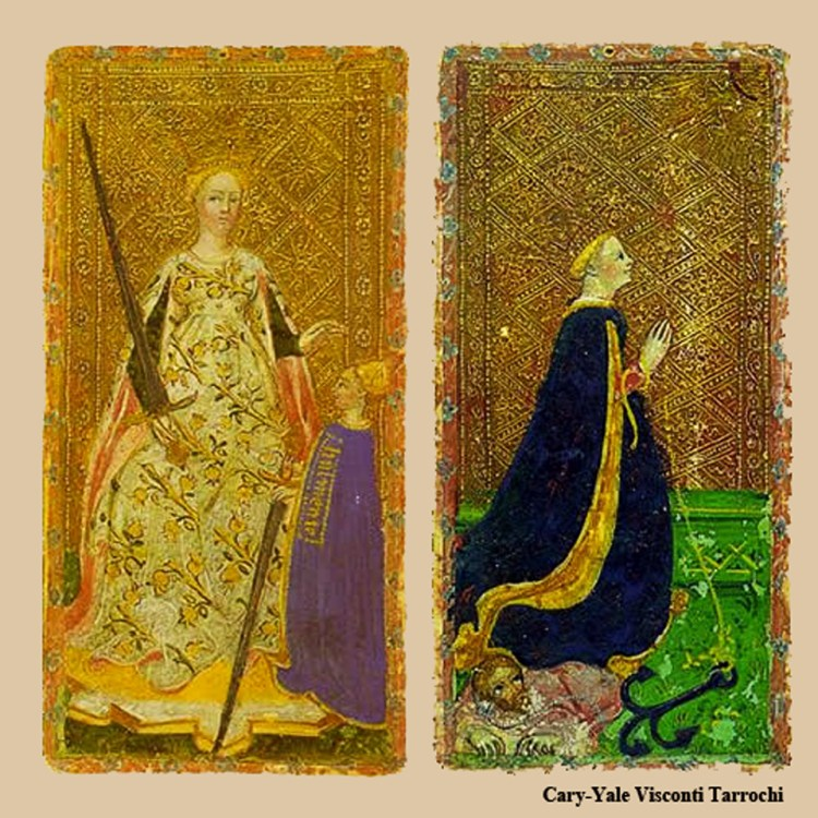 Queen of Swords, The Star - Cary-Yale Visconti Tarrochi