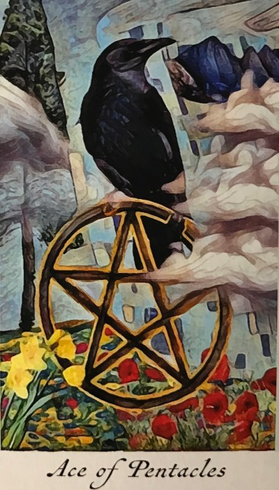 Featured Card of the Day – Ace of Pentacles – Crow Tarot by