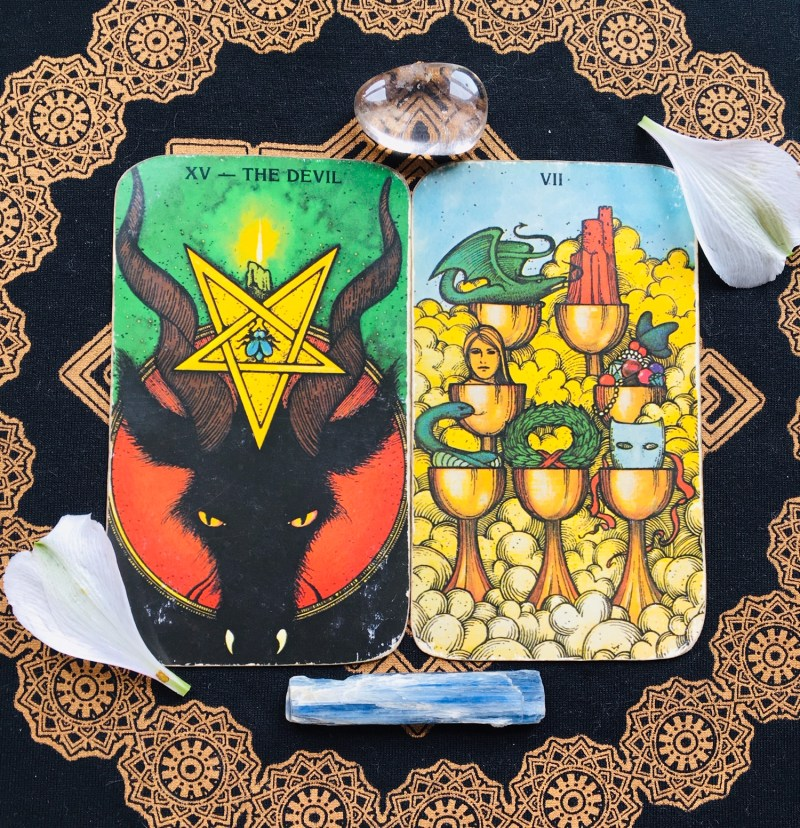 The Devil & Seven of Cups tarot cards